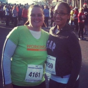 My friend and me after we completed the Manchester Road Race this past Thanksgiving!