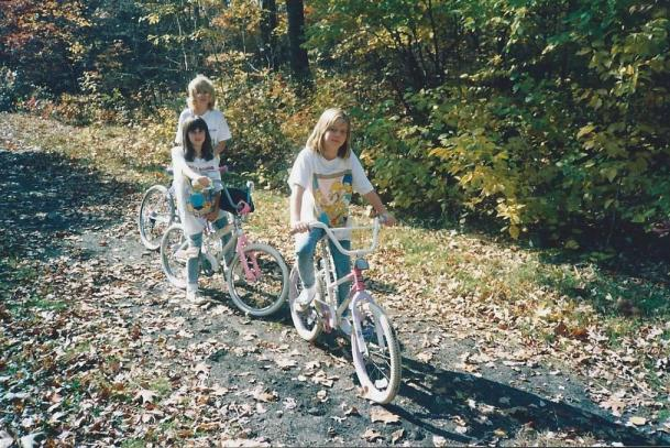 Rockin' our Simpsons shirts riding bikes.