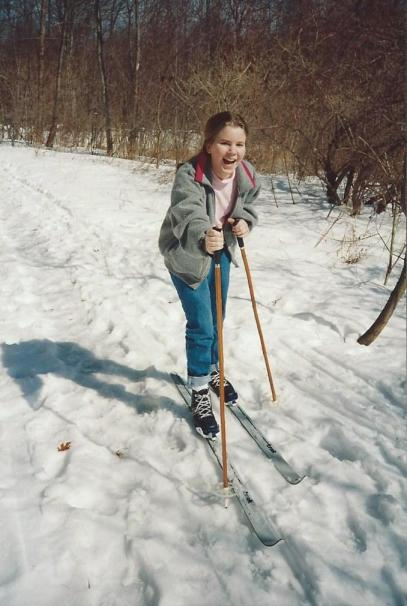 Skiing was one of my favorite things to do with my dad as a kid. We'd even ski in the backyard!