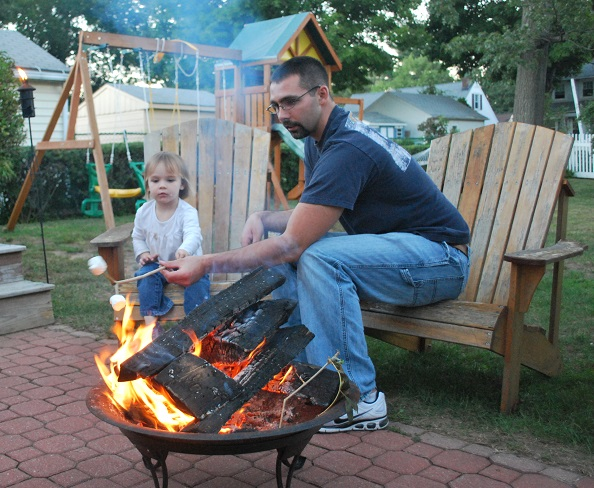 Having fun toasting marshmallows with Daddy! (Photo credit: C. Corrigan)