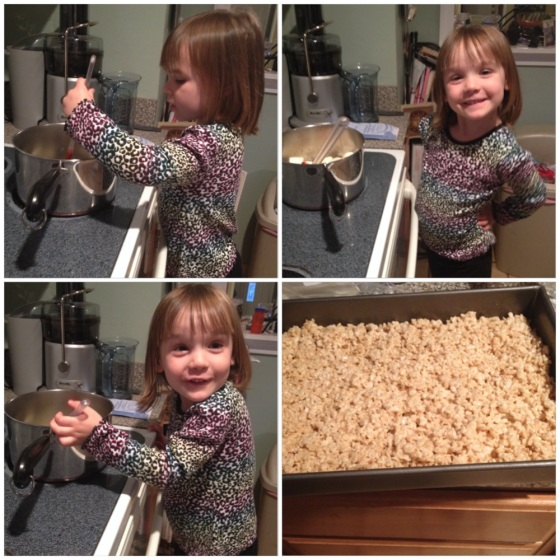 Yeah...she wasn't excited to help make  Rice Krispy treats AT ALL! (Photo Credit: C. Corrigan)