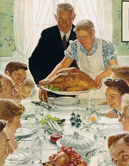 Our family dinners might not always resemble this beautiful Norman Rockwell painting, but the most important thing is that we're together!