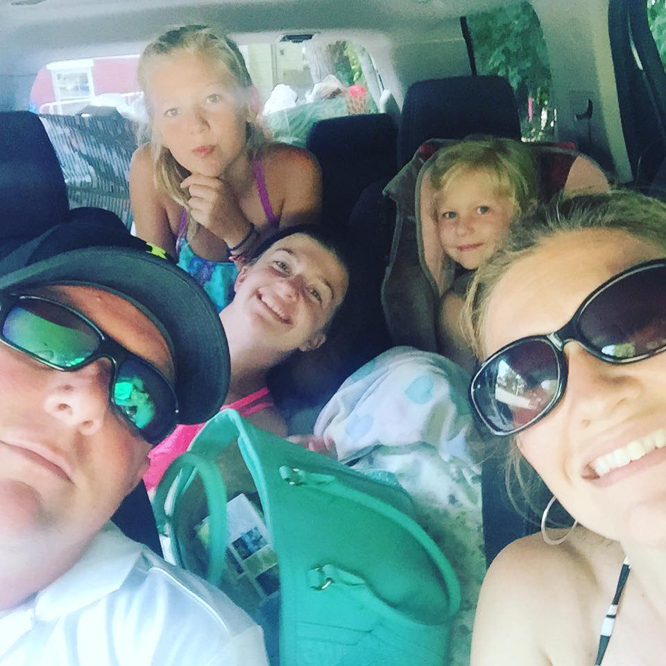 Stuffed into our car with all of our possessions headed to a week at the beach. <3 Photo Credit S. Orris
